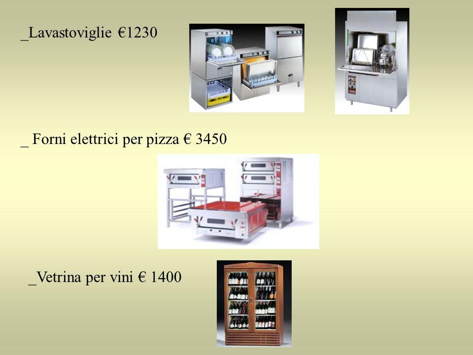 _Lavastoviglie 1230 _ Forni elettrici per pizza 3450 _Vetrina per vini 1400