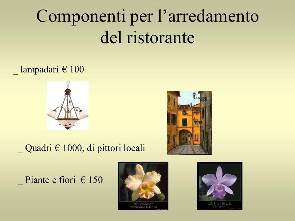 Componenti per larredamento del ristorante _ lampadari 100 _ Quadri 1000, di pittori locali _ Piante e fiori 150