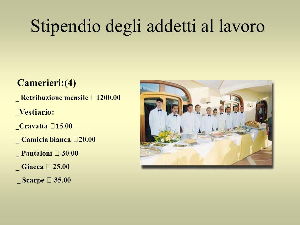 Stipendio degli addetti al lavoro Camerieri:(4) _ Retribuzione mensile €1200.00 _ Vestiario: _ Cravatta €15.00 _ Camicia bianca €20.00 _ Pantaloni € 3