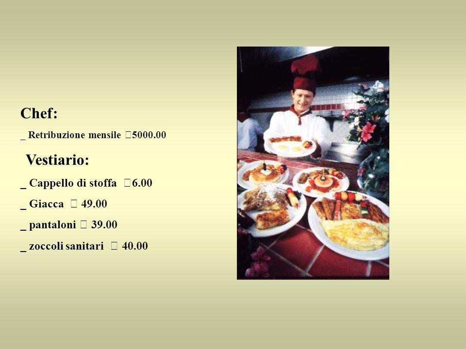 Chef: _ Retribuzione mensile €5000.00 Vestiario: _ Cappello di stoffa €6.00 _ Giacca € 49.00 _ pantaloni € 39.00 _ zoccoli sanitari € 40.00