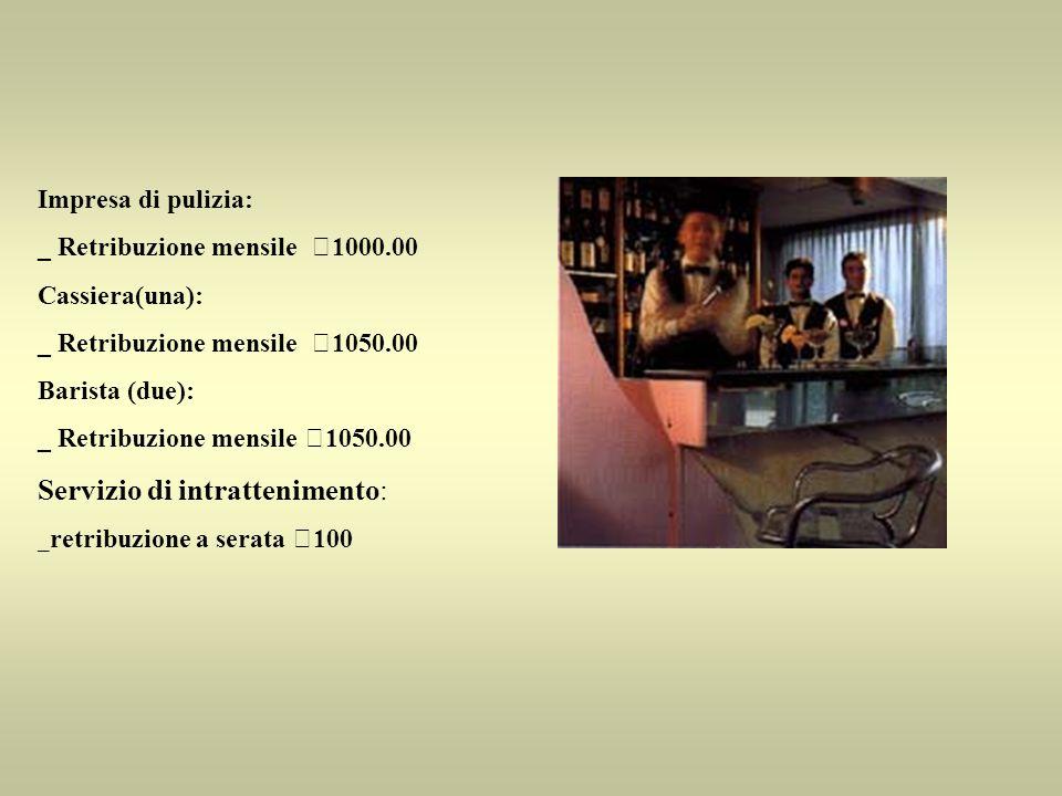 Impresa di pulizia: _ Retribuzione mensile €1000.00 Cassiera(una): _ Retribuzione mensile €1050.00 Barista (due): _ Retribuzione mensile €1050.00 Serv