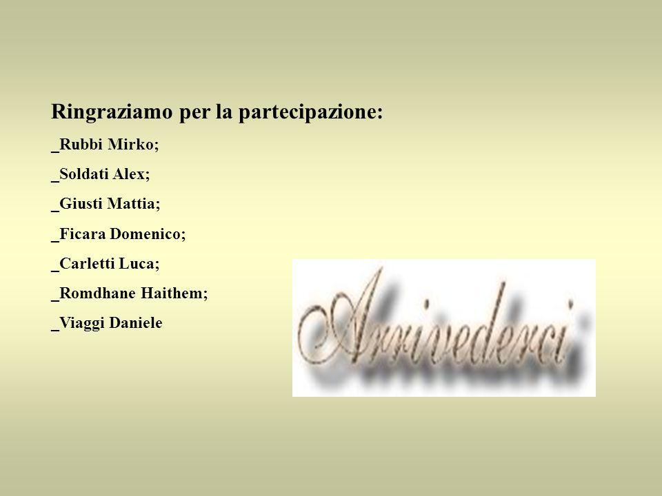 Ringraziamo per la partecipazione: _Rubbi Mirko; _Soldati Alex; _Giusti Mattia; _Ficara Domenico; _Carletti Luca; _Romdhane Haithem; _Viaggi Daniele