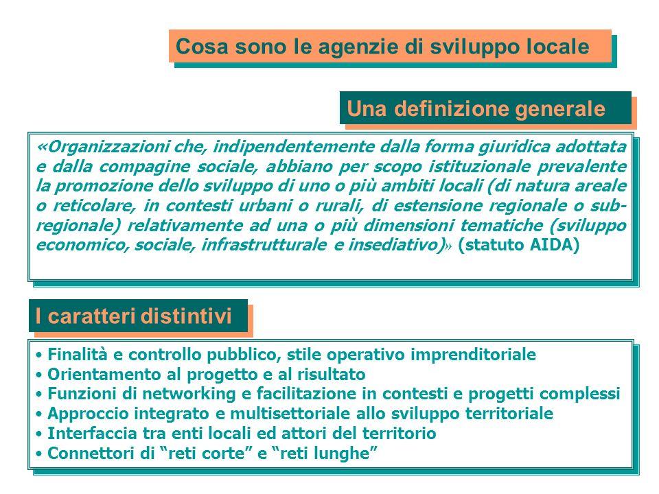Cosa sono le agenzie di sviluppo locale «Organizzazioni che, indipendentemente dalla forma giuridica adottata e dalla compagine sociale, abbiano per s