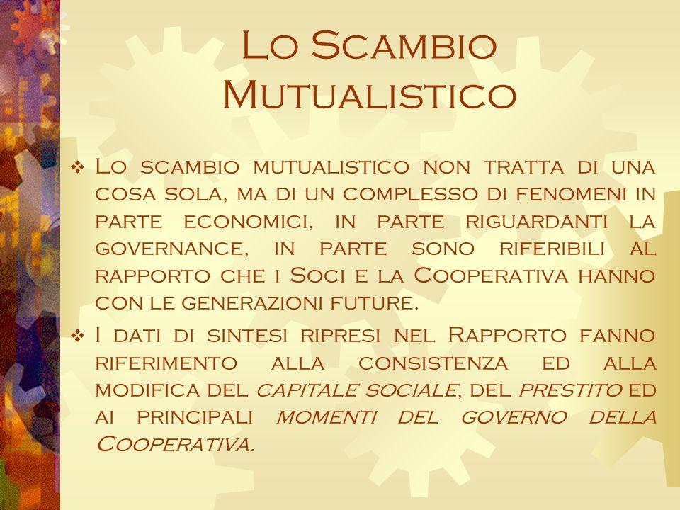 Lo Scambio Mutualistico Lo scambio mutualistico non tratta di una cosa sola, ma di un complesso di fenomeni in parte economici, in parte riguardanti la governance, in parte sono riferibili al rapporto che i Soci e la Cooperativa hanno con le generazioni future.