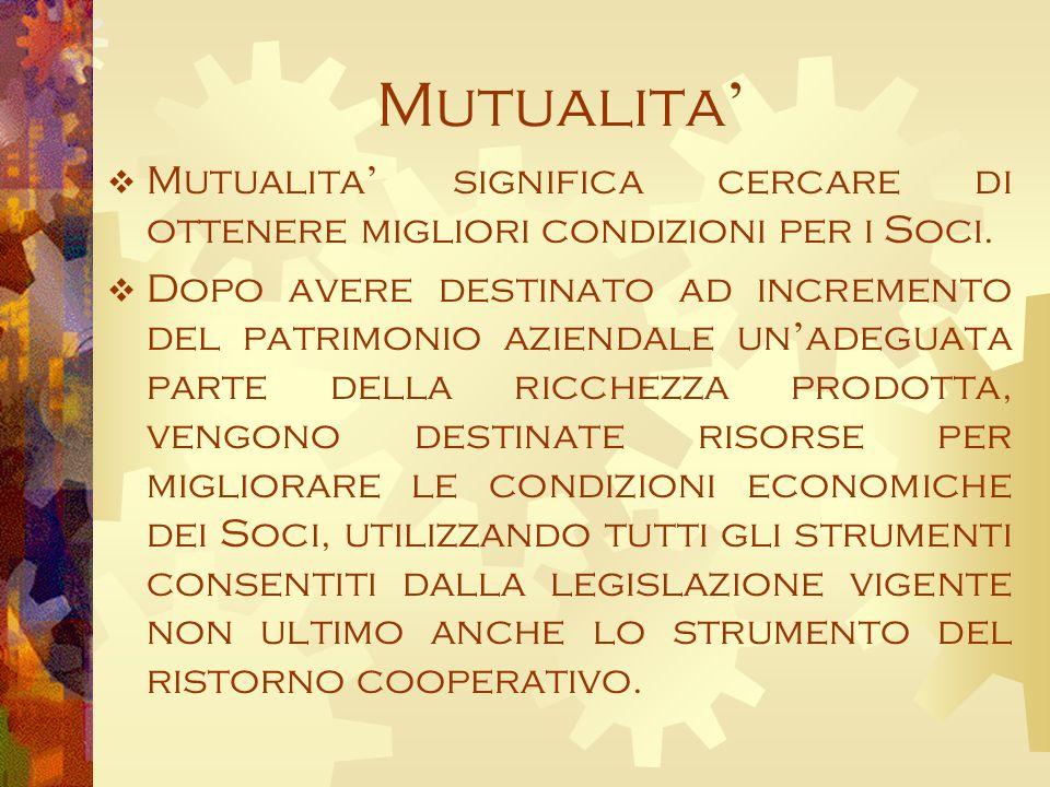 Mutualita Mutualita significa cercare di ottenere migliori condizioni per i Soci.