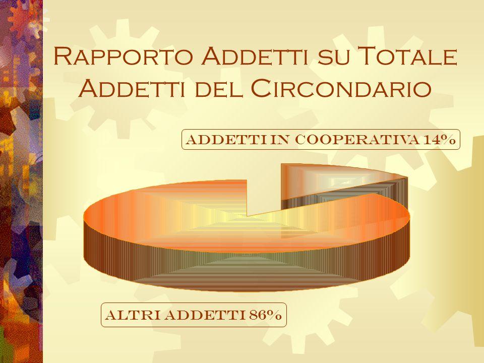 Rapporto Addetti su Totale Addetti del Circondario ALTRI ADDETTI 86% ADDETTI IN COOPERATIVA 14%
