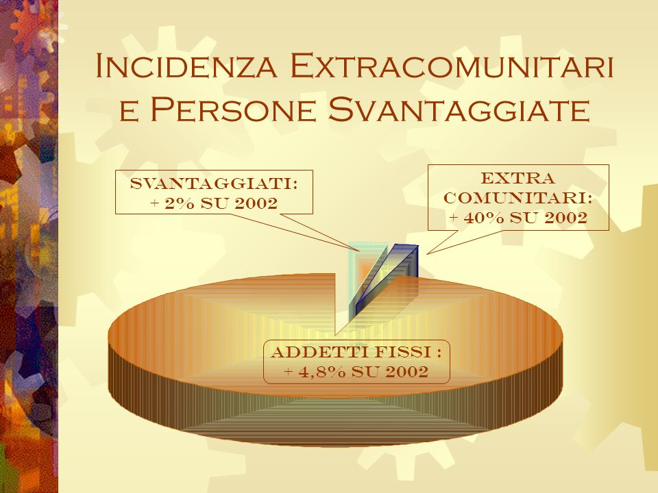 Incidenza Extracomunitari e Persone Svantaggiate Svantaggiati: + 2% su 2002 EXTRA COMUNITARI: + 40% su 2002 ADDETTI FISSI : + 4,8% su 2002