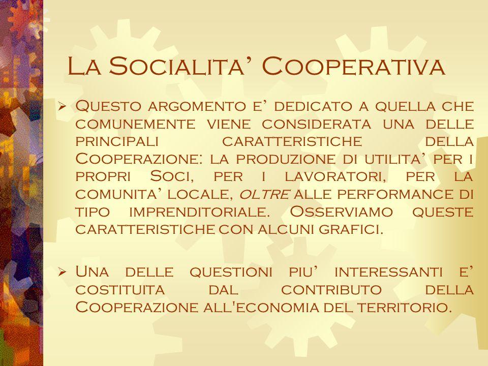 La Socialita Cooperativa Questo argomento e dedicato a quella che comunemente viene considerata una delle principali caratteristiche della Cooperazione: la produzione di utilita per i propri Soci, per i lavoratori, per la comunita locale, oltre alle performance di tipo imprenditoriale.
