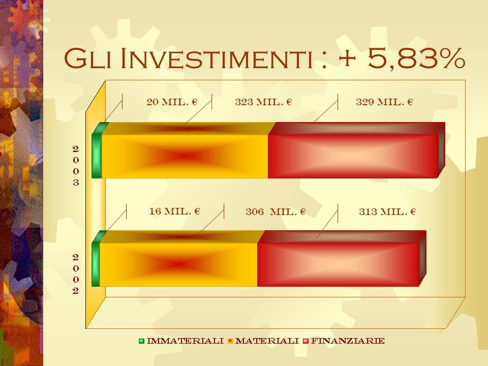 Gli Investimenti : + 5,83% 306 Mil. 329 Mil. 16 Mil. 20 Mil. 323 Mil. 313 Mil.