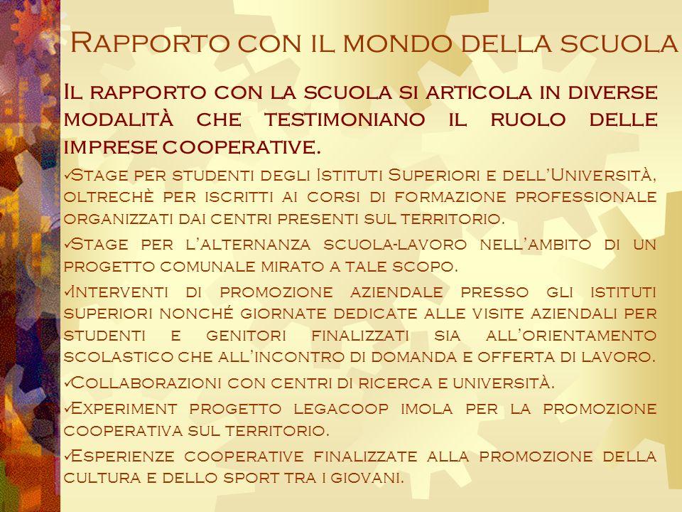 Rapporto con il mondo della scuola Il rapporto con la scuola si articola in diverse modalità che testimoniano il ruolo delle imprese cooperative.