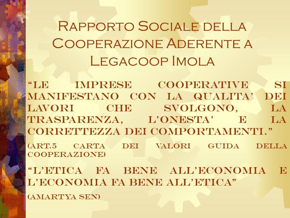 Rapporto Sociale della Cooperazione Aderente a Legacoop Imola Le imprese cooperative si manifestano con la qualita dei lavori che svolgono, la trasparenza, lonesta e la correttezza dei comportamenti.