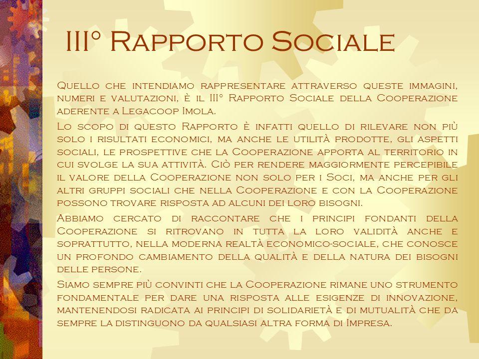 III° Rapporto Sociale Quello che intendiamo rappresentare attraverso queste immagini, numeri e valutazioni, è il III° Rapporto Sociale della Cooperazione aderente a Legacoop Imola.