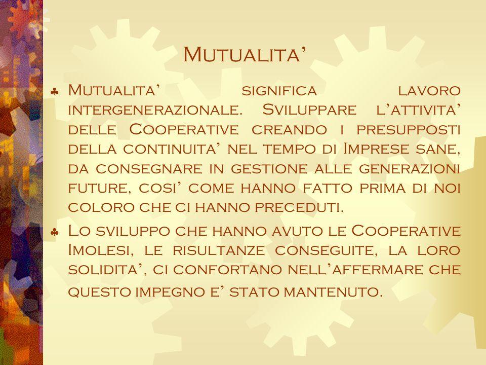 Mutualita Mutualita significa lavoro intergenerazionale.