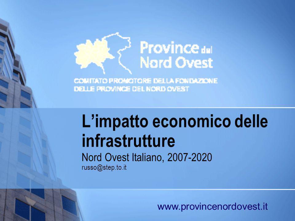 Obiettivi della presentazione Individuare come le infrastrutture impattano economicamente sul territorio del nord-ovest Quantificarne gli impatti di domanda e di offerta Rapportare tali impatti a quantità di semplice comprensione