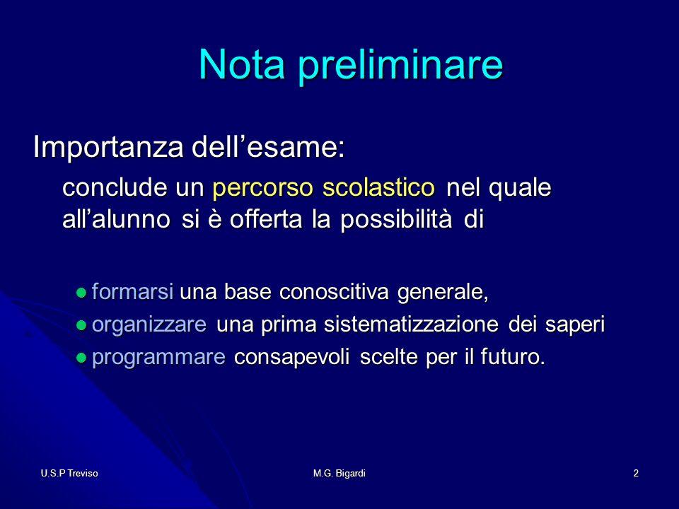 U.S.P TrevisoM.G.Bigardi33 Candidati privatisti Candidati privatisti 1.