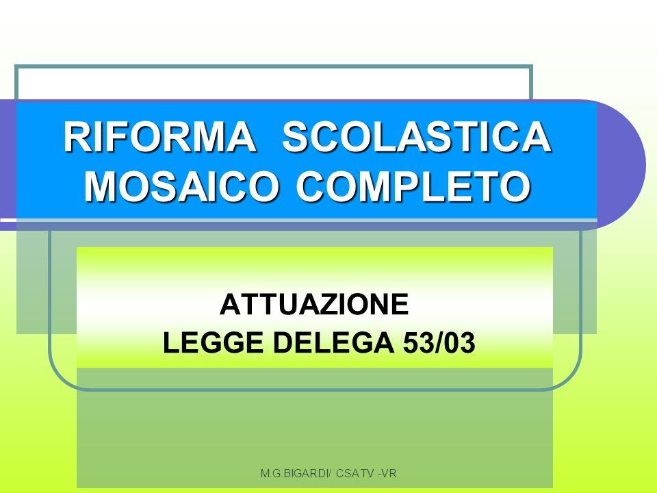 M.G.BIGARDI/ CSA TV -VR RIFORMA SCOLASTICA MOSAICO COMPLETO ATTUAZIONE LEGGE DELEGA 53/03