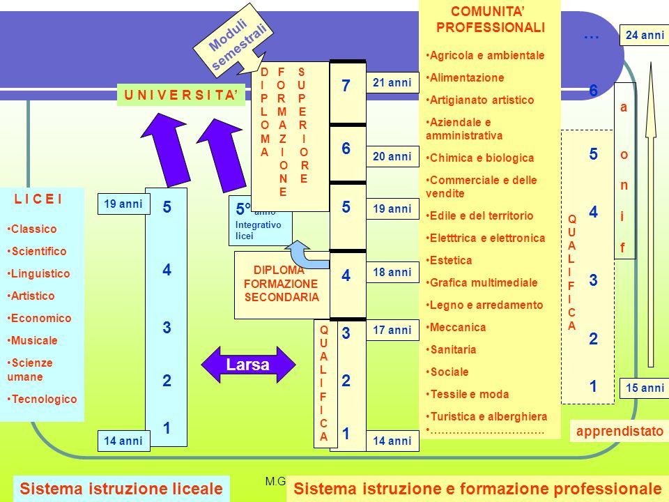 M.G.BIGARDI/ CSA TV -VR Sistema istruzione licealeSistema istruzione e formazione professionale L I C E I Classico Scientifico Linguistico Artistico E