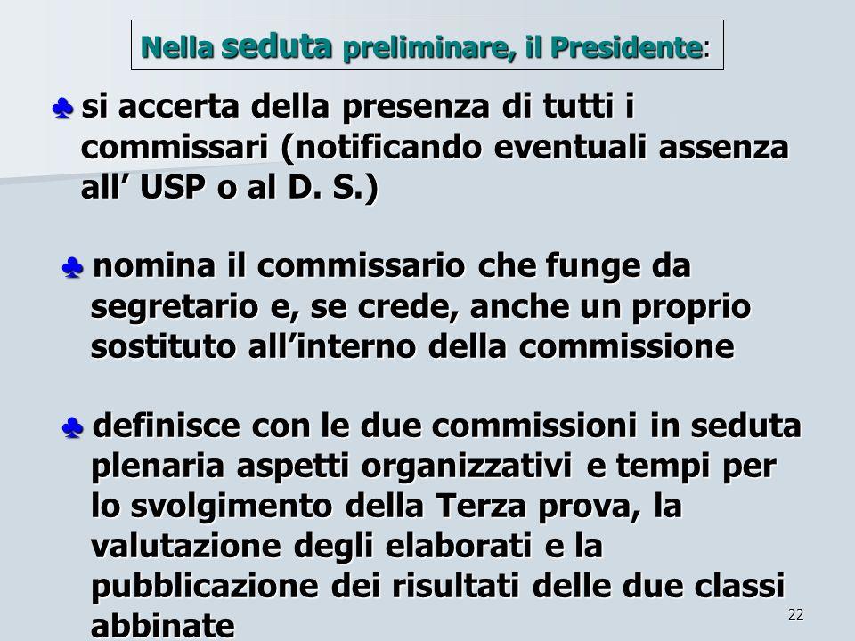 22 si accerta della presenza di tutti i commissari (notificando eventuali assenza all USP o al D. S.) nomina il commissario che funge da segretario e,