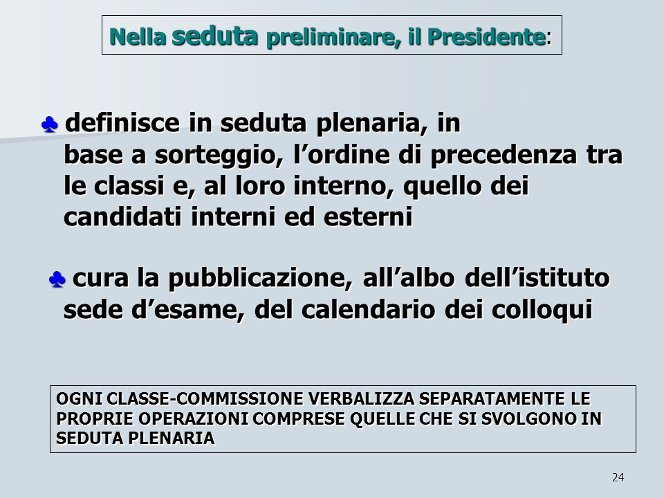 24 definisce in seduta plenaria, in base a sorteggio, lordine di precedenza tra le classi e, al loro interno, quello dei candidati interni ed esterni