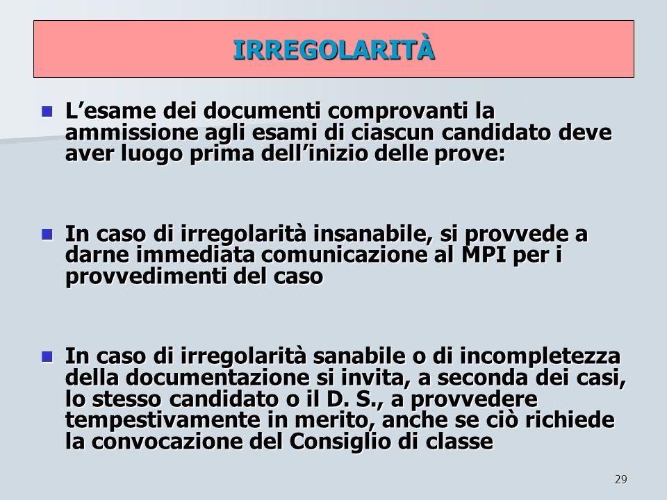 29 IRREGOLARITÀ Lesame dei documenti comprovanti la ammissione agli esami di ciascun candidato deve aver luogo prima dellinizio delle prove: Lesame de