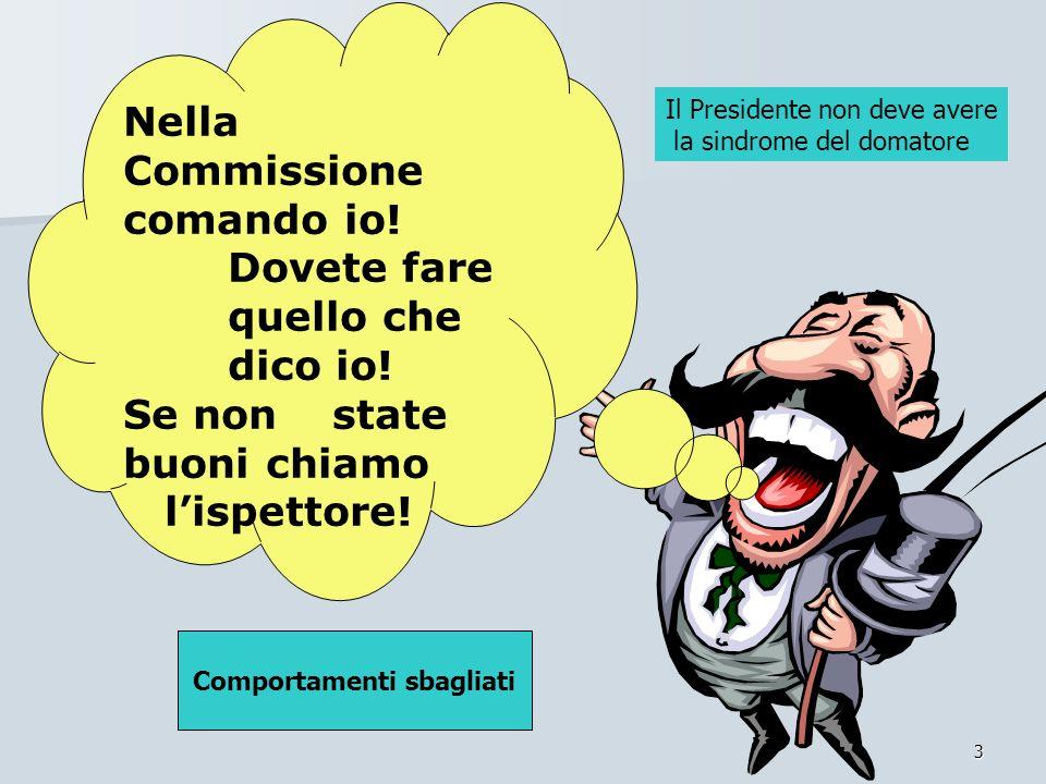 3 Nella Commissione comando io! Dovete fare quello che dico io! Se non state buoni chiamo lispettore! Comportamenti sbagliati Il Presidente non deve a