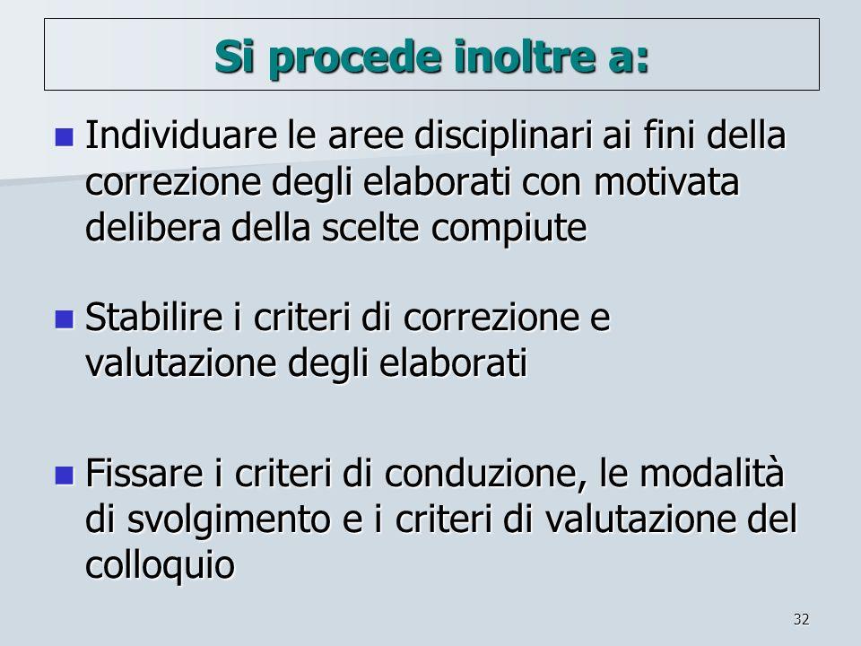 32 Si procede inoltre a: Individuare le aree disciplinari ai fini della correzione degli elaborati con motivata delibera della scelte compiute Individ