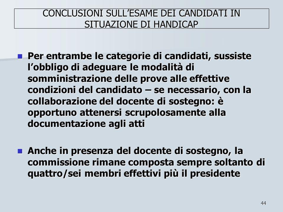 44 CONCLUSIONI SULLESAME DEI CANDIDATI IN SITUAZIONE DI HANDICAP Per entrambe le categorie di candidati, sussiste lobbligo di adeguare le modalità di