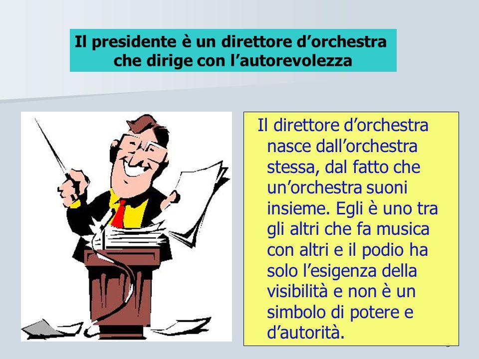 5 Il direttore dorchestra nasce dallorchestra stessa, dal fatto che unorchestra suoni insieme. Egli è uno tra gli altri che fa musica con altri e il p