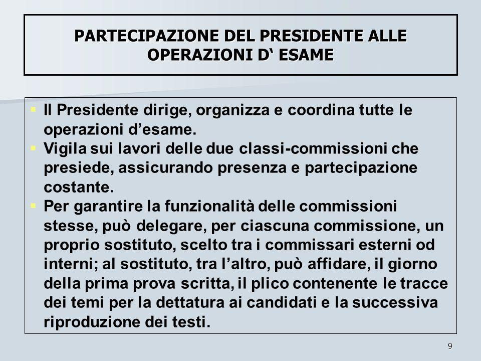 9 Il Presidente dirige, organizza e coordina tutte le operazioni desame. Vigila sui lavori delle due classi-commissioni che presiede, assicurando pres