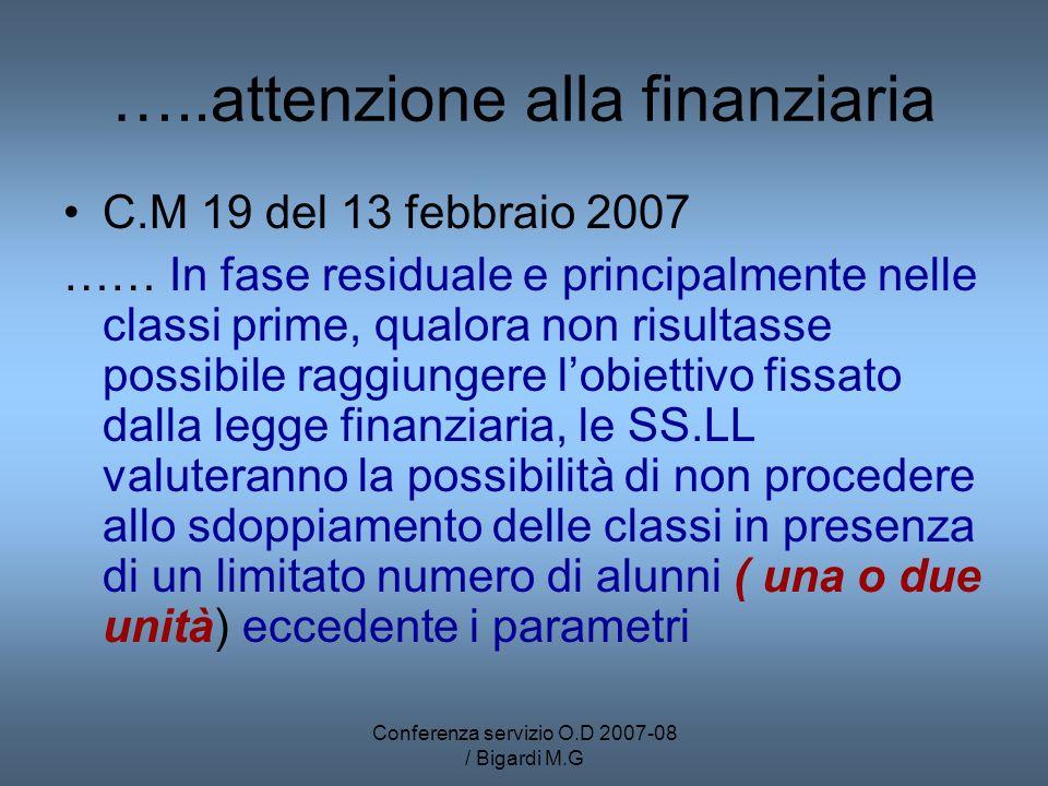 Conferenza servizio O.D 2007-08 / Bigardi M.G …..attenzione alla finanziaria C.M 19 del 13 febbraio 2007 …… In fase residuale e principalmente nelle c