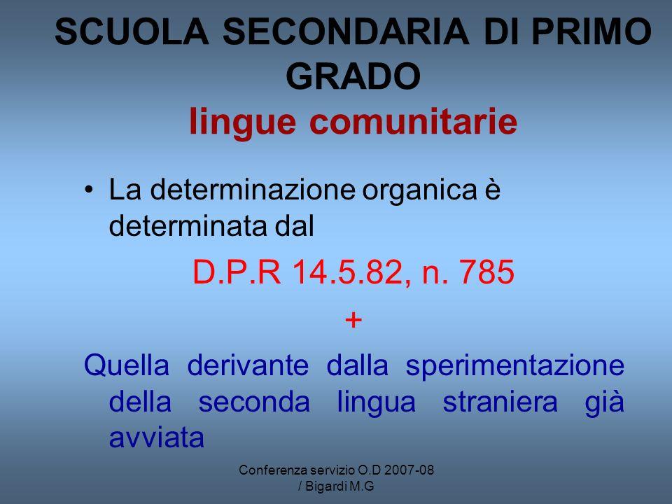 Conferenza servizio O.D 2007-08 / Bigardi M.G SCUOLA SECONDARIA DI PRIMO GRADO lingue comunitarie La determinazione organica è determinata dal D.P.R 14.5.82, n.