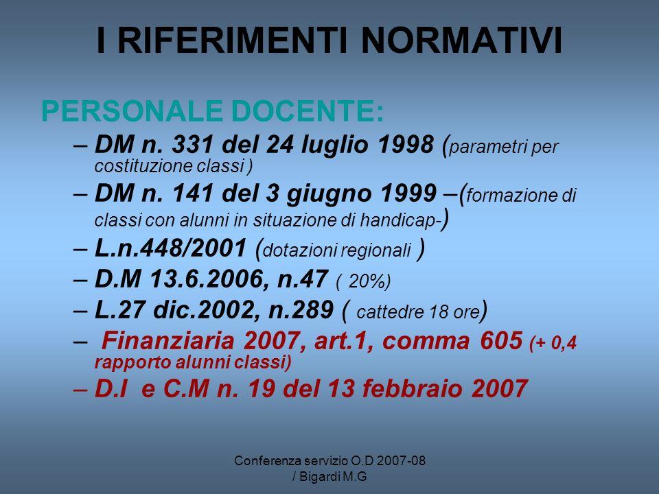 Conferenza servizio O.D 2007-08 / Bigardi M.G I RIFERIMENTI NORMATIVI PERSONALE DOCENTE: –DM n. 331 del 24 luglio 1998 ( parametri per costituzione cl