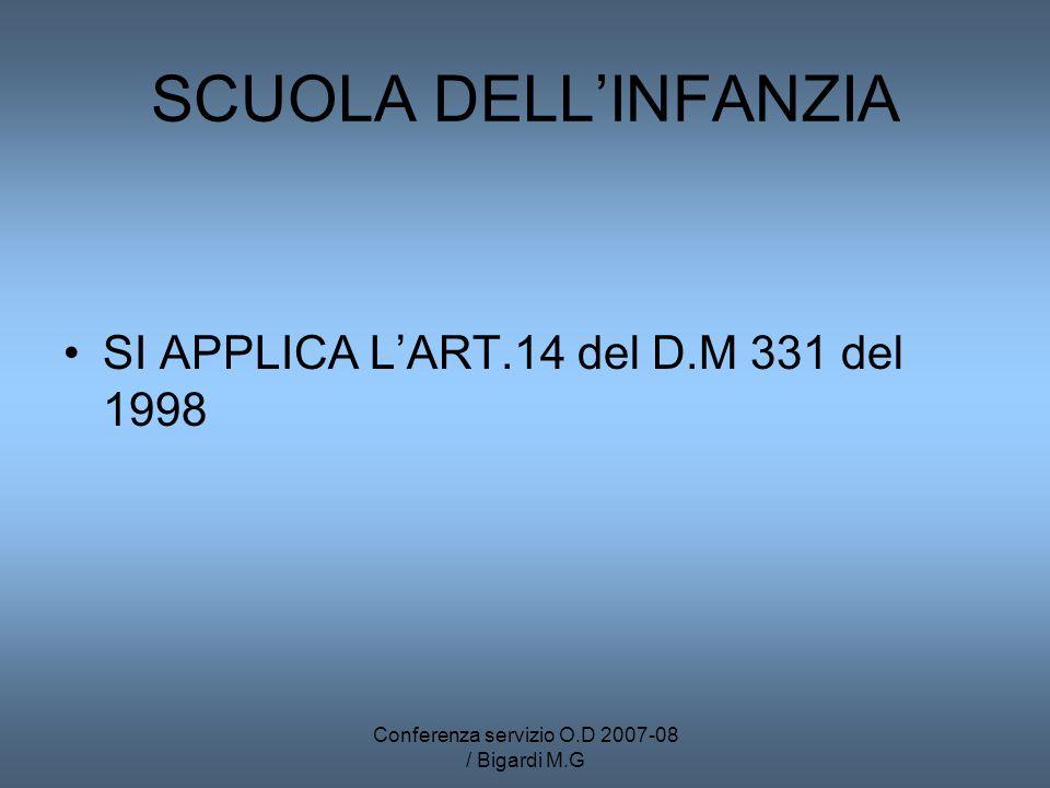 Conferenza servizio O.D 2007-08 / Bigardi M.G SCUOLA DELLINFANZIA SI APPLICA LART.14 del D.M 331 del 1998