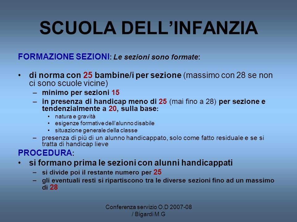 Conferenza servizio O.D 2007-08 / Bigardi M.G SCUOLA DELLINFANZIA FORMAZIONE SEZIONI : Le sezioni sono formate: di norma con 25 bambine/i per sezione