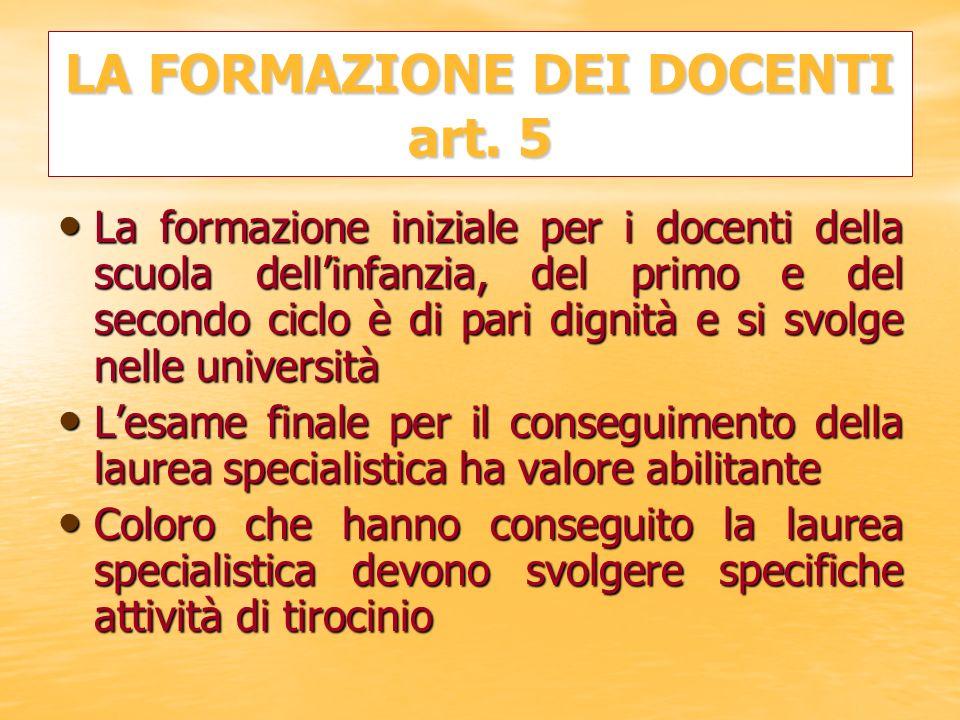 LA FORMAZIONE DEI DOCENTI art. 5 La formazione iniziale per i docenti della scuola dellinfanzia, del primo e del secondo ciclo è di pari dignità e si