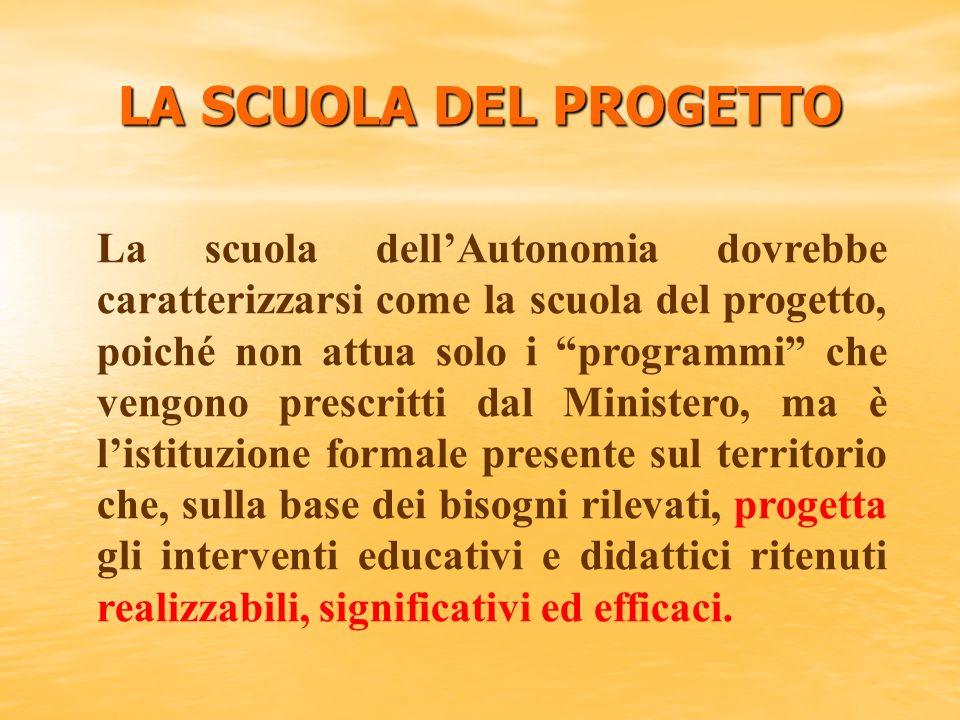 La scuola dellAutonomia dovrebbe caratterizzarsi come la scuola del progetto, poiché non attua solo i programmi che vengono prescritti dal Ministero,