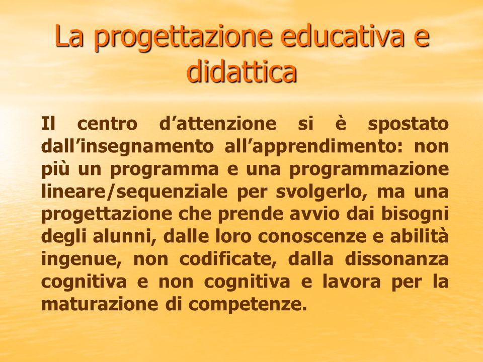 La progettazione educativa e didattica Il centro dattenzione si è spostato dallinsegnamento allapprendimento: non più un programma e una programmazion