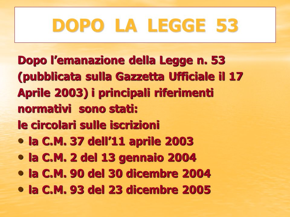 DOPO LA LEGGE 53 Dopo lemanazione della Legge n. 53 (pubblicata sulla Gazzetta Ufficiale il 17 Aprile 2003) i principali riferimenti normativi sono st