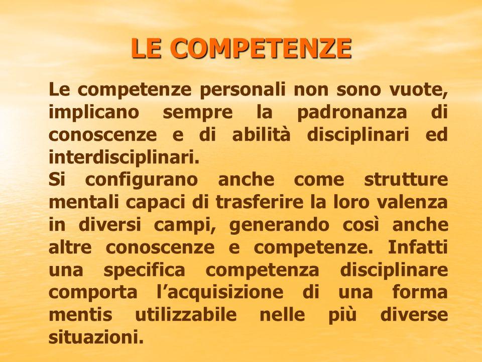 LE COMPETENZE Le competenze personali non sono vuote, implicano sempre la padronanza di conoscenze e di abilità disciplinari ed interdisciplinari. Si