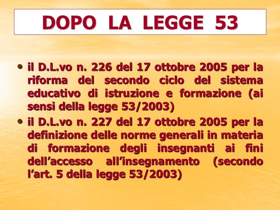 il D.L.vo n. 226 del 17 ottobre 2005 per la riforma del secondo ciclo del sistema educativo di istruzione e formazione (ai sensi della legge 53/2003)