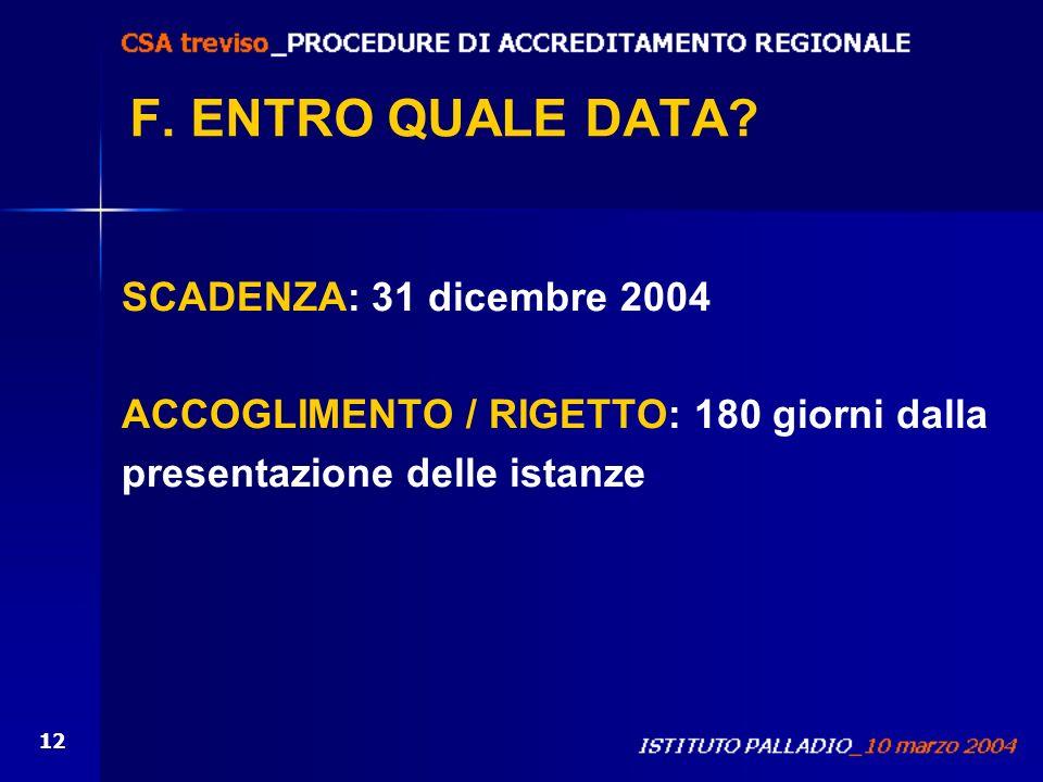12 F. ENTRO QUALE DATA? SCADENZA: 31 dicembre 2004 ACCOGLIMENTO / RIGETTO: 180 giorni dalla presentazione delle istanze