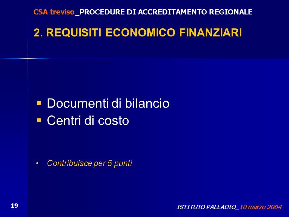 19 Documenti di bilancio Centri di costo Contribuisce per 5 punti 2. REQUISITI ECONOMICO FINANZIARI