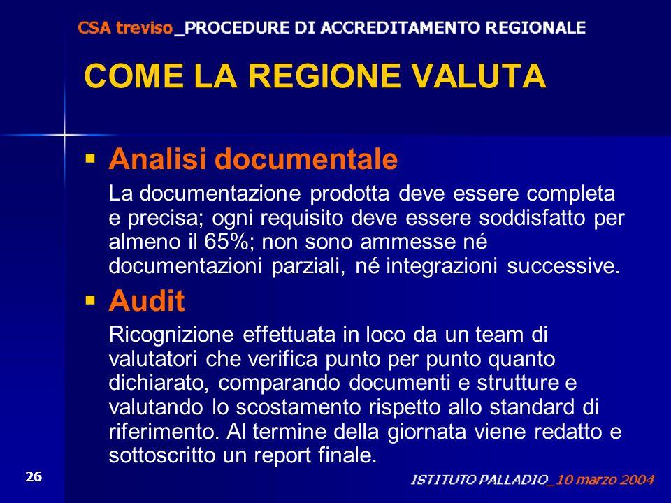 26 COME LA REGIONE VALUTA Analisi documentale La documentazione prodotta deve essere completa e precisa; ogni requisito deve essere soddisfatto per al
