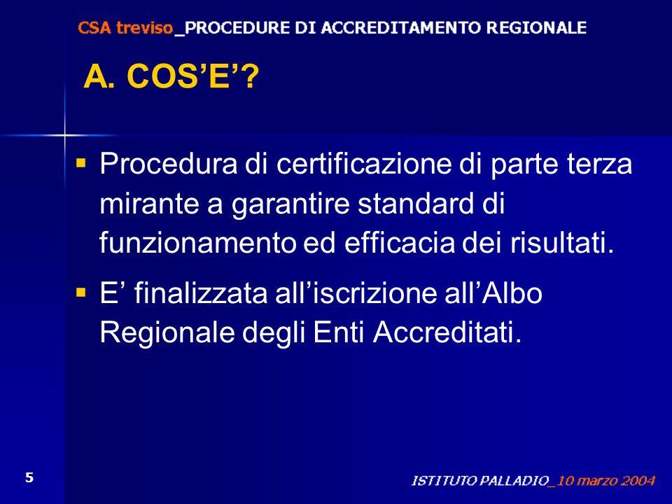 5 A. COSE? Procedura di certificazione di parte terza mirante a garantire standard di funzionamento ed efficacia dei risultati. E finalizzata alliscri