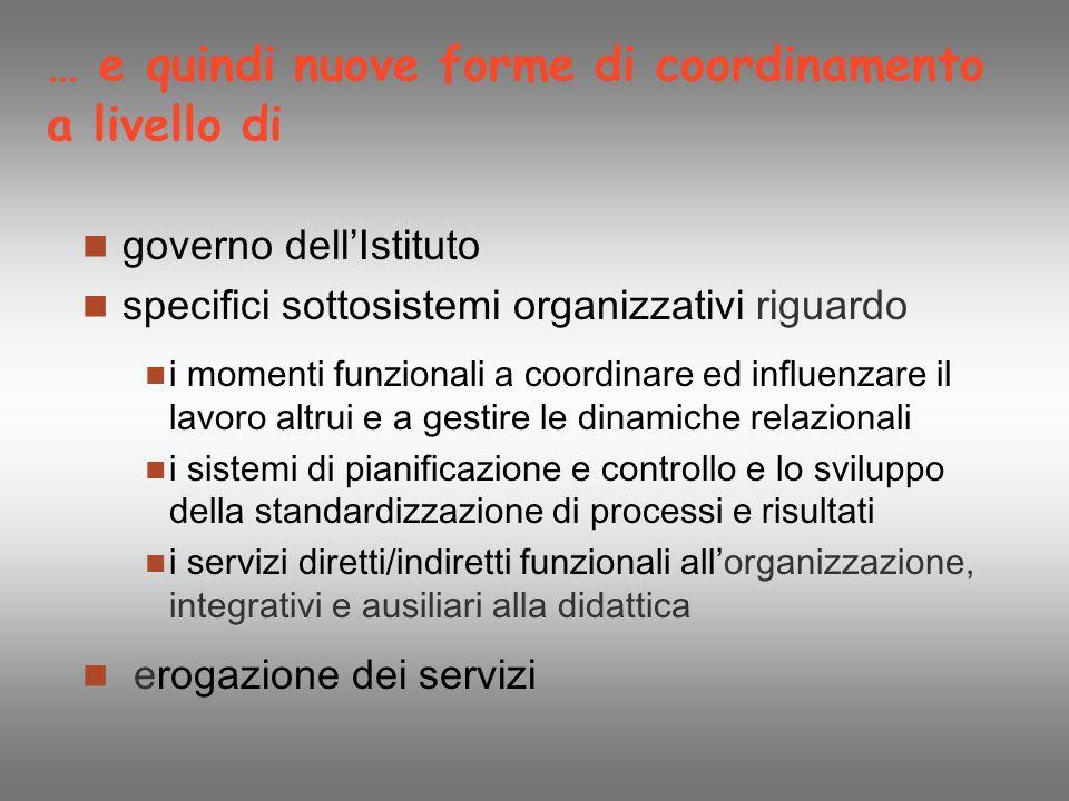 … e quindi nuove forme di coordinamento a livello di governo dell Istituto specifici sottosistemi organizzativi riguardo i momenti funzionali a coordi