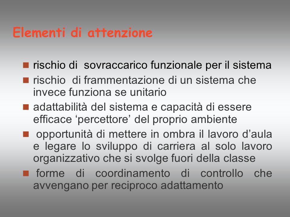 Elementi di attenzione rischio di sovraccarico funzionale per il sistema rischio di frammentazione di un sistema che invece funziona se unitario adatt