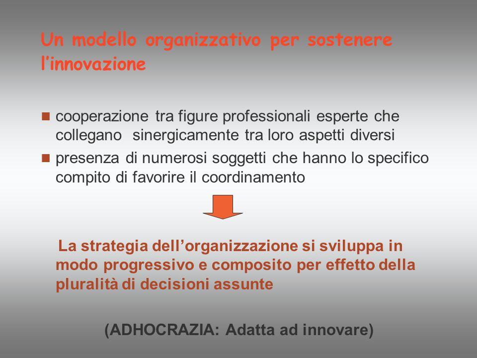 Un modello organizzativo per sostenere linnovazione cooperazione tra figure professionali esperte che collegano sinergicamente tra loro aspetti divers