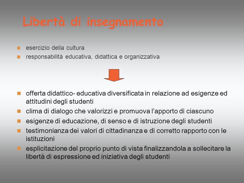 Libertà di insegnamento esercizio della cultura responsabilità educativa, didattica e organizzativa offerta didattico- educativa diversificata in rela