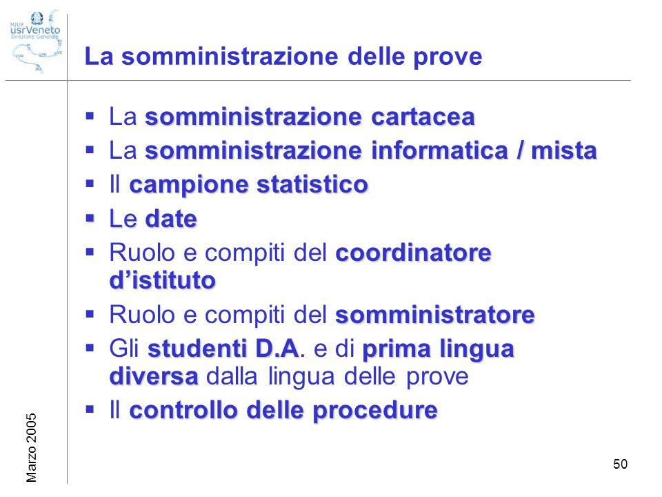 Marzo 2005 50 La somministrazione delle prove somministrazione cartacea La somministrazione cartacea somministrazione informatica / mista La somminist