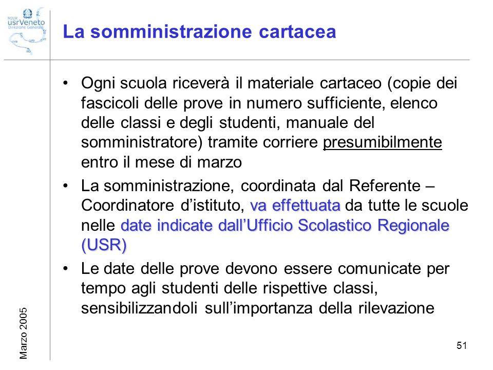 Marzo 2005 51 La somministrazione cartacea Ogni scuola riceverà il materiale cartaceo (copie dei fascicoli delle prove in numero sufficiente, elenco d